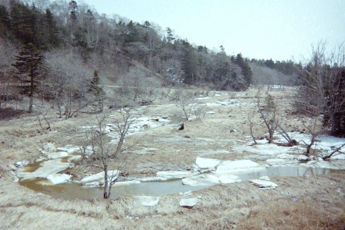 北海道4月の雪解け