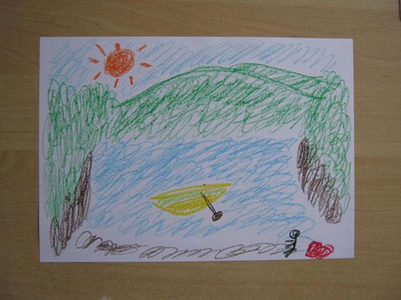 アートセラピーの作品 山間の湖にヨット