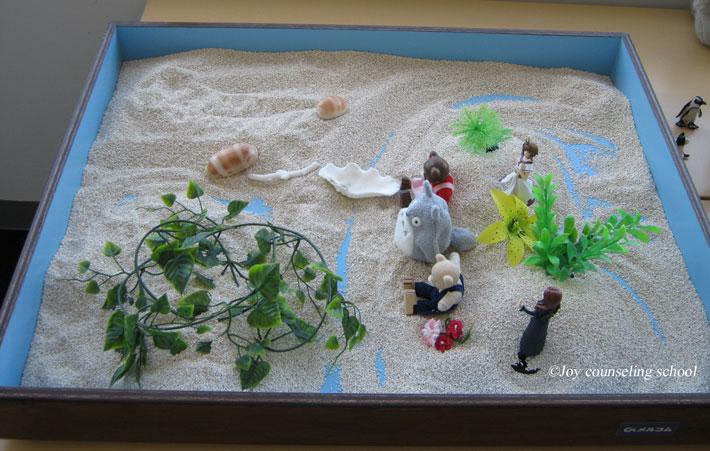 湖や川のイメージが作られた箱庭療法の作品