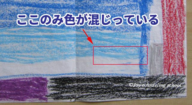 絵の中で色が唯一混じり合っている所の拡大図