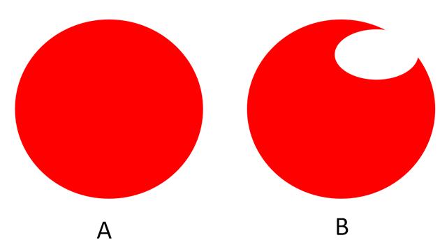 円と円が欠けている図